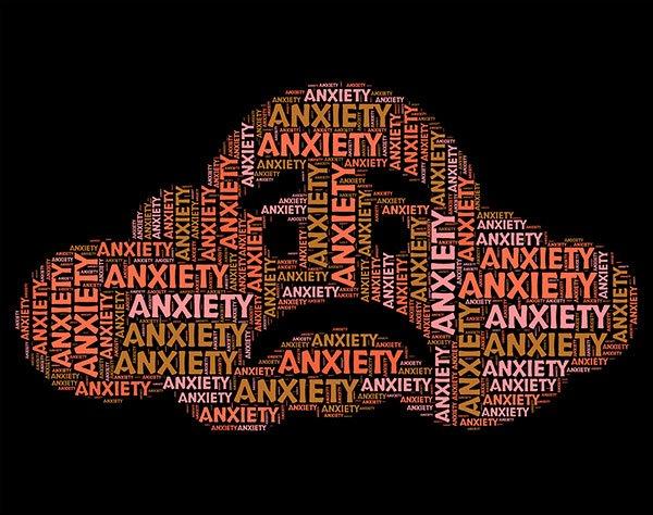Illustration des mots Anxiety répété pour former un nuage ayant l'air triste. Sophrologie, Hypnose, Synergie sur Marseille