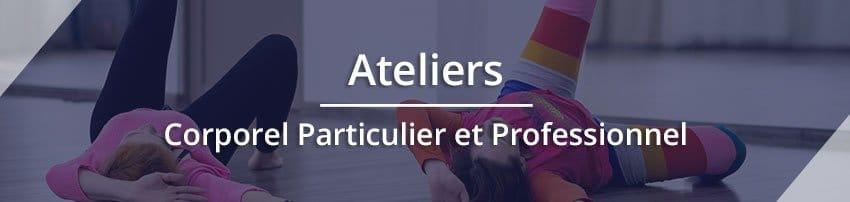 """Titre """"Ateliers Corporel Particulier et Professionnel"""" avec une photo en fond représentant des enfants en mouvement. Sophrologie, Hypnose, Synergie sur Marseille"""
