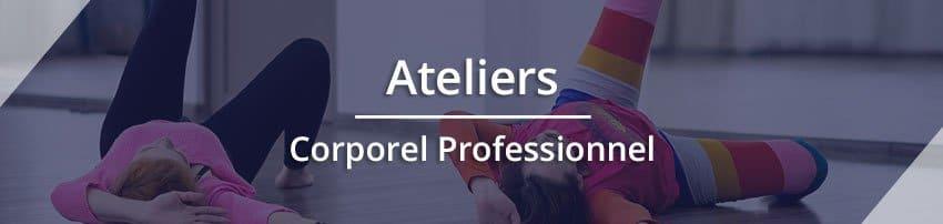 """Titre """"Ateliers Corporel Professionnel"""" avec une photo en fond représentant des enfants en mouvement. Sophrologie, Hypnose, Synergie sur Marseille"""
