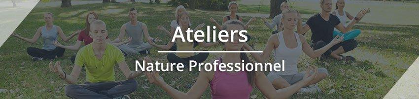 """Titre """"Ateliers Nature Professionnel"""" avec une photo en fond représentant des adultes méditants en pleine nature. Sophrologie, Hypnose, Synergie sur Marseille"""