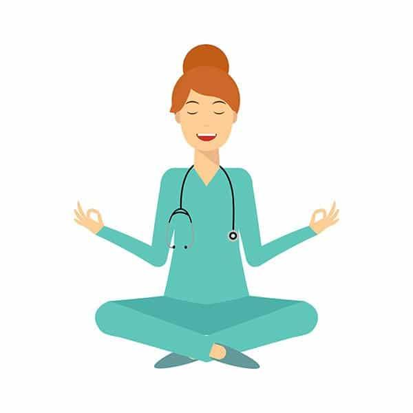 Illustration d'une professionnelle de santé faisant de la méditation. Sophrologie, Hypnose, Synergie sur Marseille