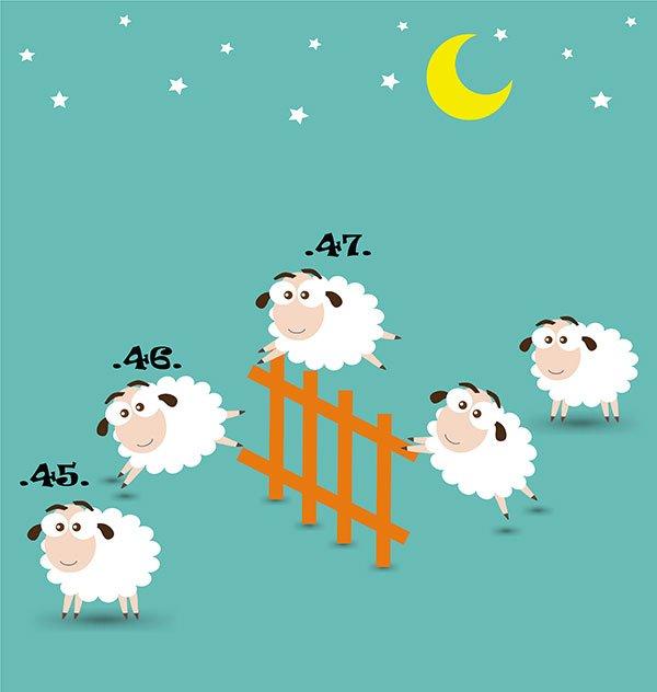 Illustration de moutons dans une nuit étoilé évoquant le sommeil. Sophrologie, Hypnose, Synergie sur Marseille
